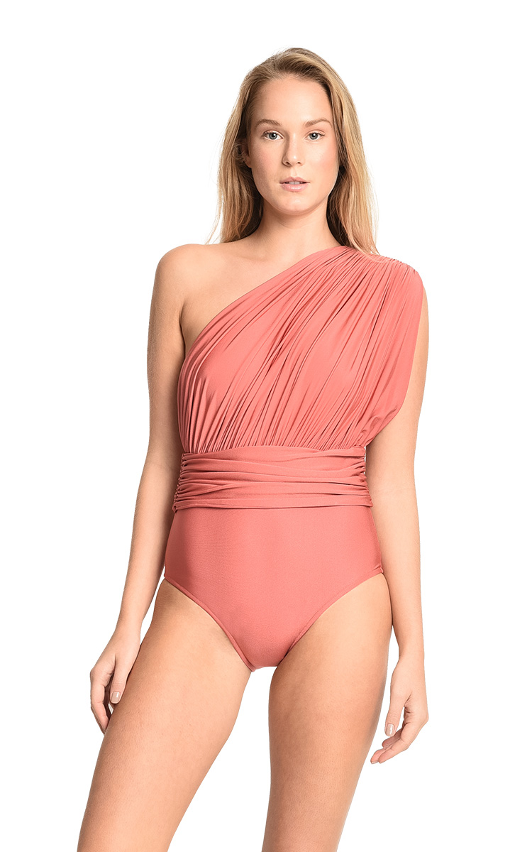 Morocco One Shoulder Draped Maillot