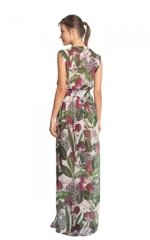 Floral Fidji Long Ruffled Dress