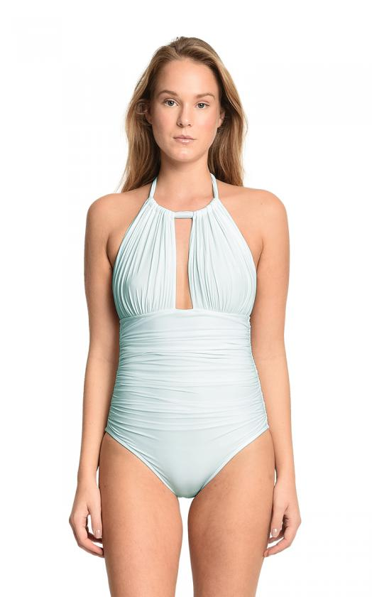 Sky Ruched Halter Maillot