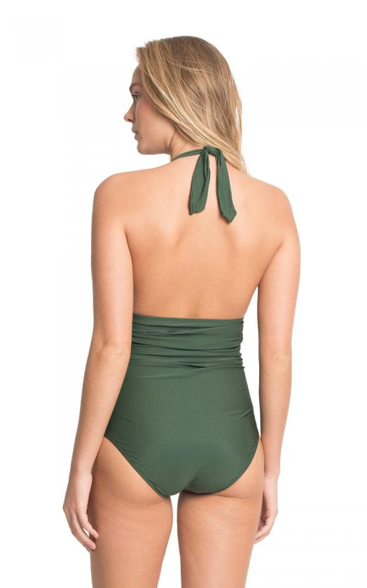 Emerald Adjustable Halter Maillot