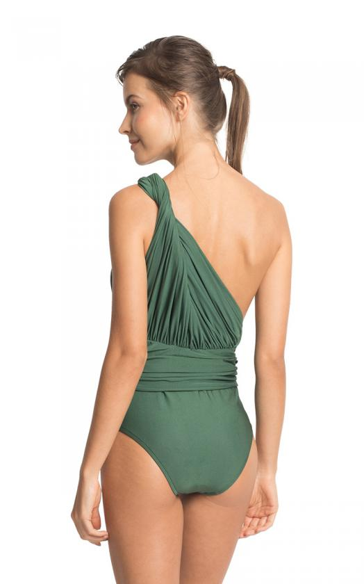 Emerald One Shoulder Draped Maillot