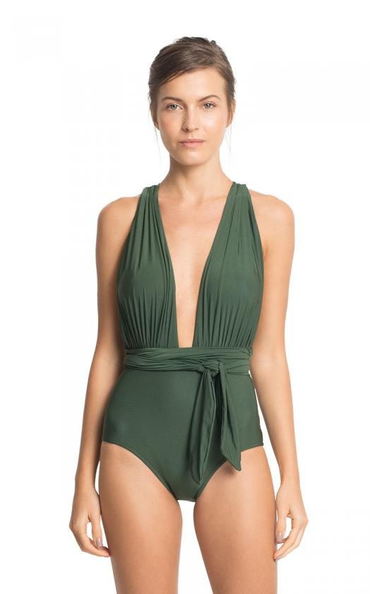 Emerald Chic Halter Maillot