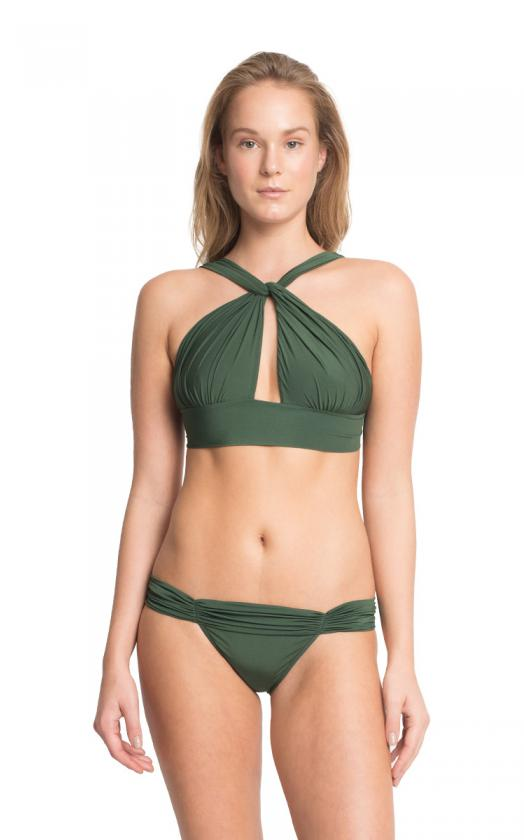 Emerald Neck Ruched Bikini